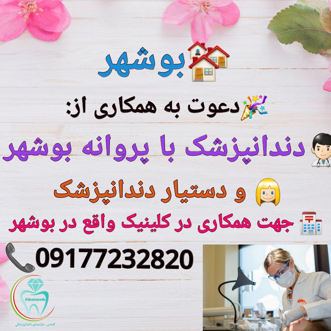 بوشهر، دعوت به همکاری از دندانپزشک با پروانه بوشهر
