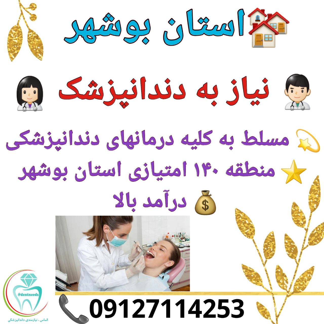 استان بوشهر، نیاز به دندانپزشک